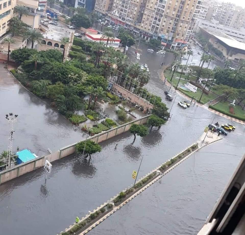 شوارع الاسكندرية خلال الأمطار